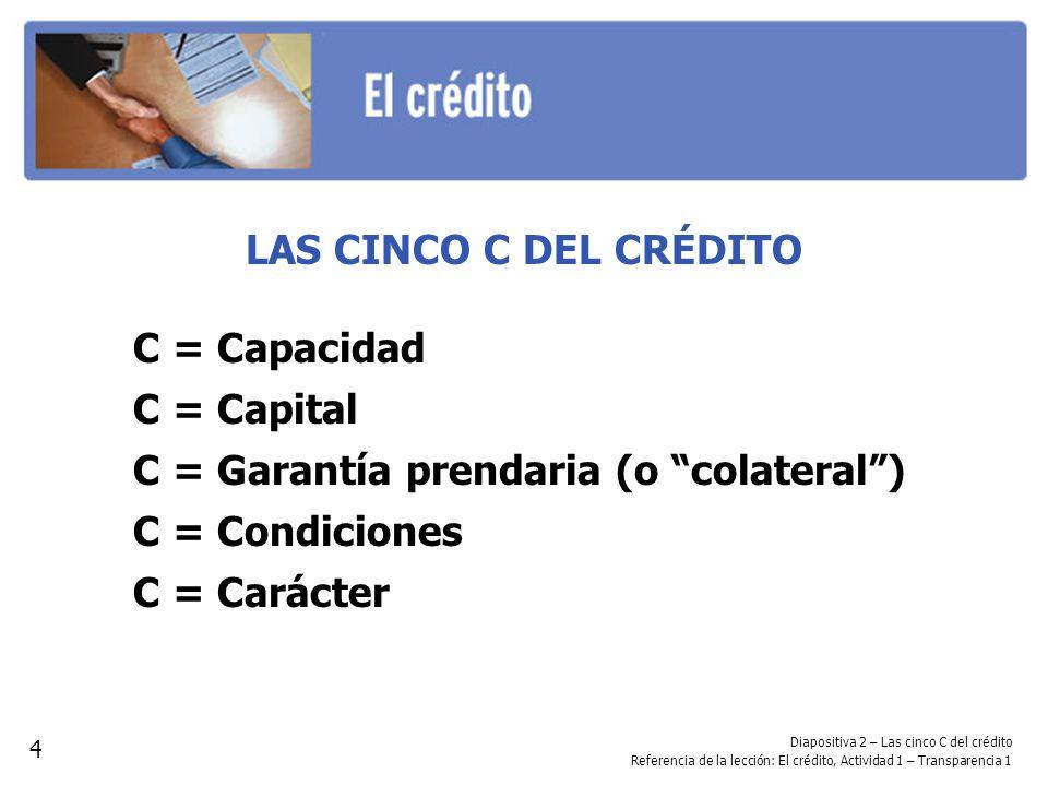 C = Garantía prendaria (o colateral ) C = Condiciones C = Carácter