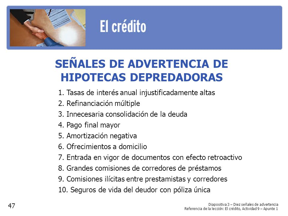 SEÑALES DE ADVERTENCIA DE HIPOTECAS DEPREDADORAS