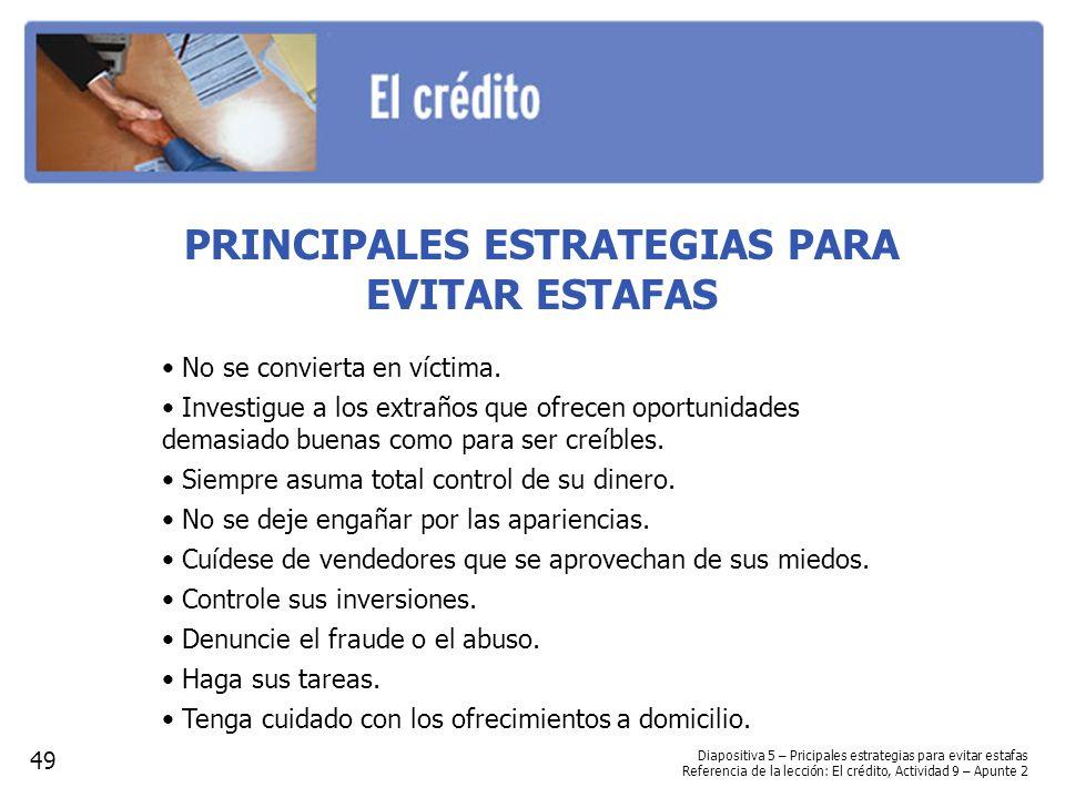 PRINCIPALES ESTRATEGIAS PARA EVITAR ESTAFAS