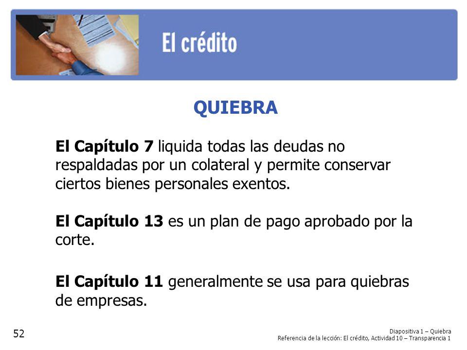 QUIEBRA El Capítulo 7 liquida todas las deudas no respaldadas por un colateral y permite conservar ciertos bienes personales exentos.