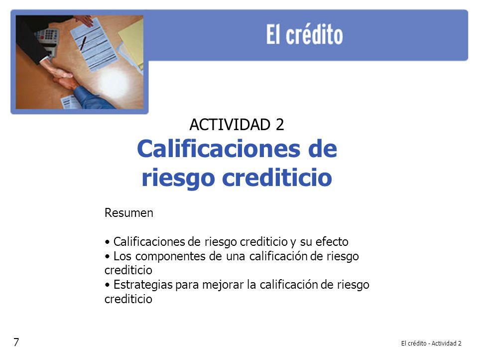 Calificaciones de riesgo crediticio