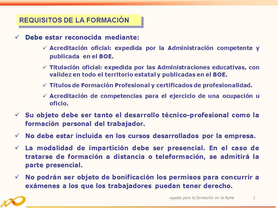 REQUISITOS DE LA FORMACIÓN