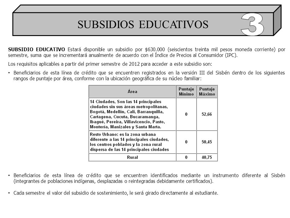 SUBSIDIOS EDUCATIVOS 3.