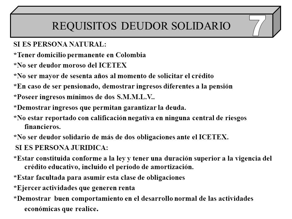 REQUISITOS DEUDOR SOLIDARIO