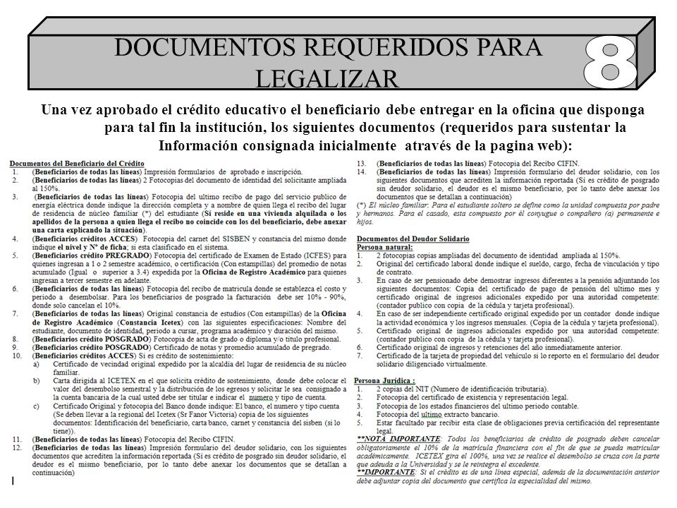 DOCUMENTOS REQUERIDOS PARA