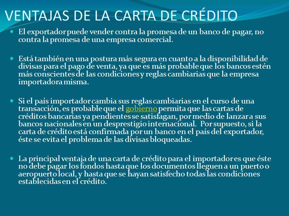 VENTAJAS DE LA CARTA DE CRÉDITO