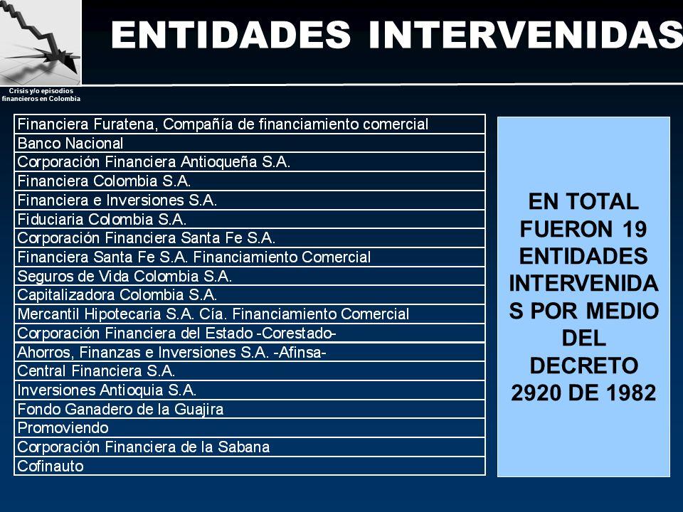 ENTIDADES INTERVENIDAS