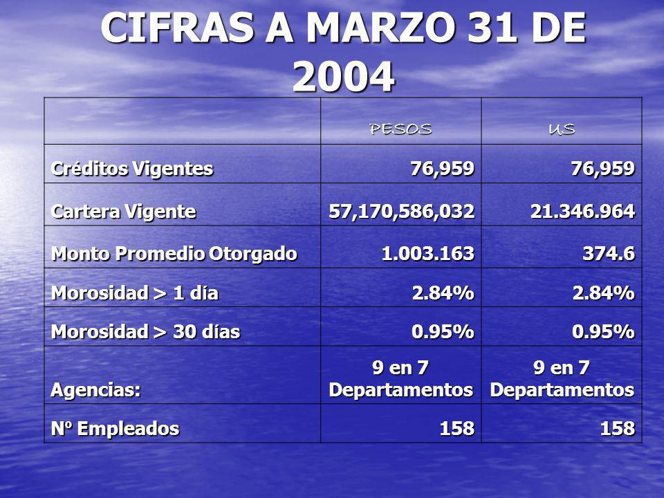 CIFRAS A MARZO 31 DE 2004 PESOS US Créditos Vigentes 76,959
