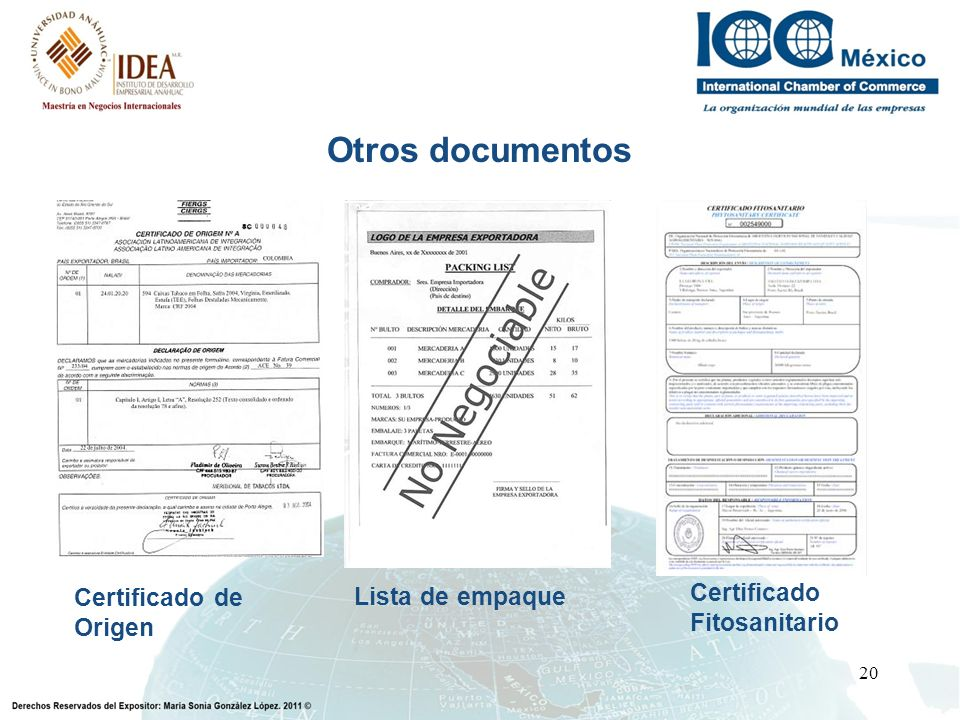 Otros documentos Certificado de Origen Lista de empaque