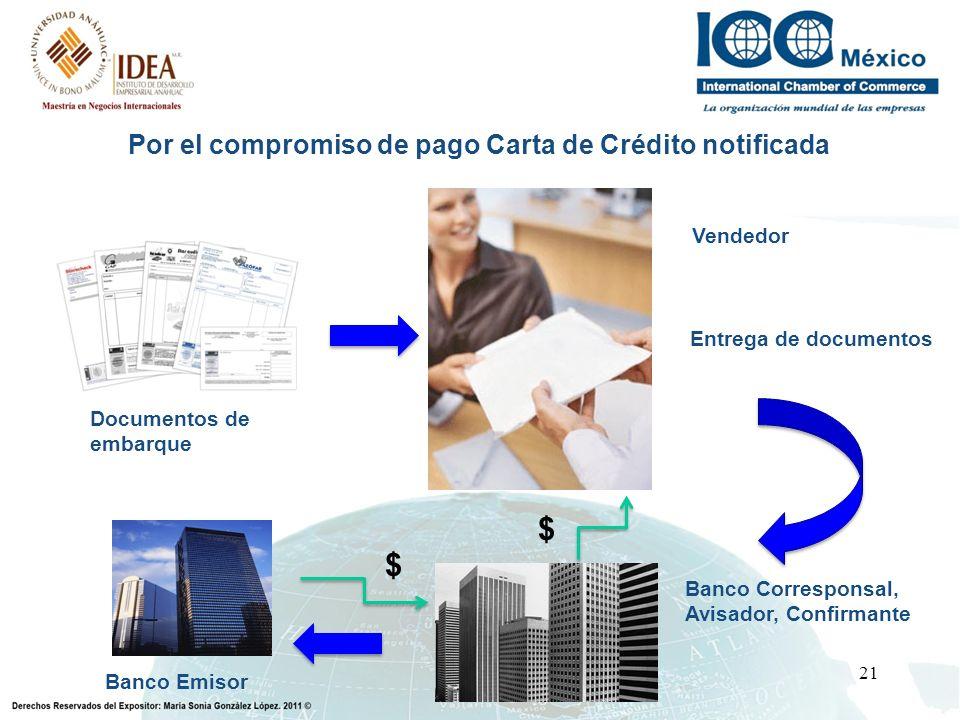Por el compromiso de pago Carta de Crédito notificada