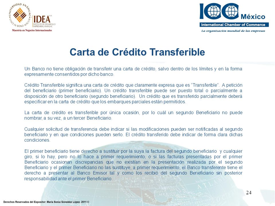 Carta de Crédito Transferible