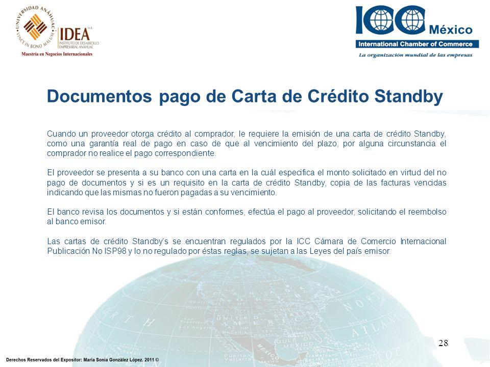 Documentos pago de Carta de Crédito Standby