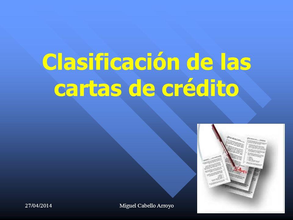 Clasificación de las cartas de crédito