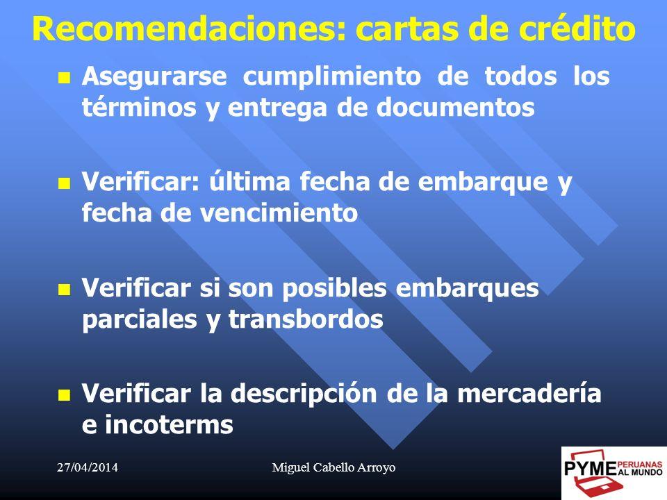 Recomendaciones: cartas de crédito