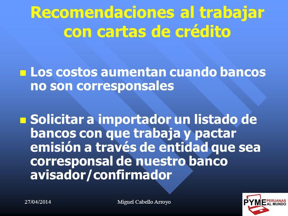 Recomendaciones al trabajar con cartas de crédito
