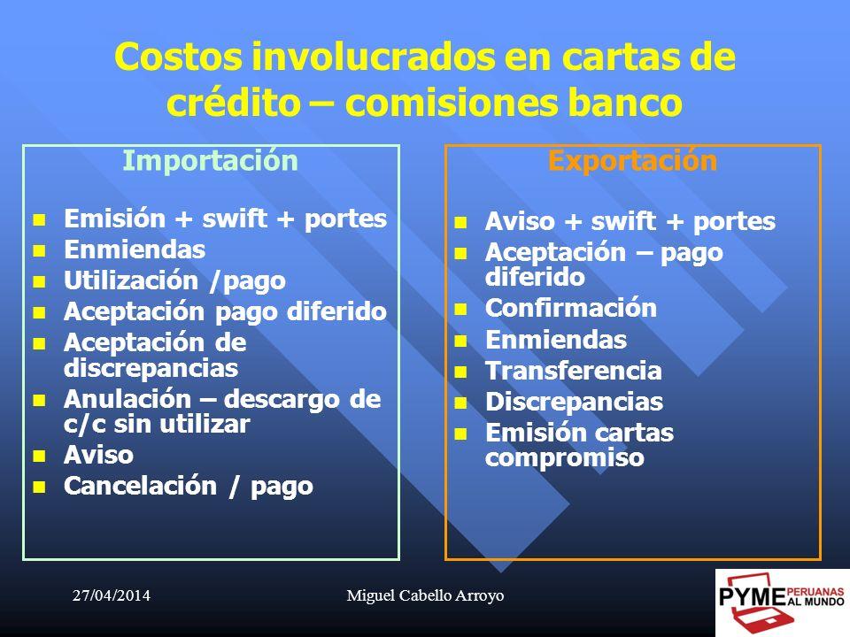 Costos involucrados en cartas de crédito – comisiones banco