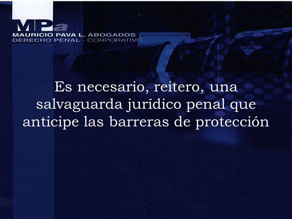 Es necesario, reitero, una salvaguarda jurídico penal que anticipe las barreras de protección