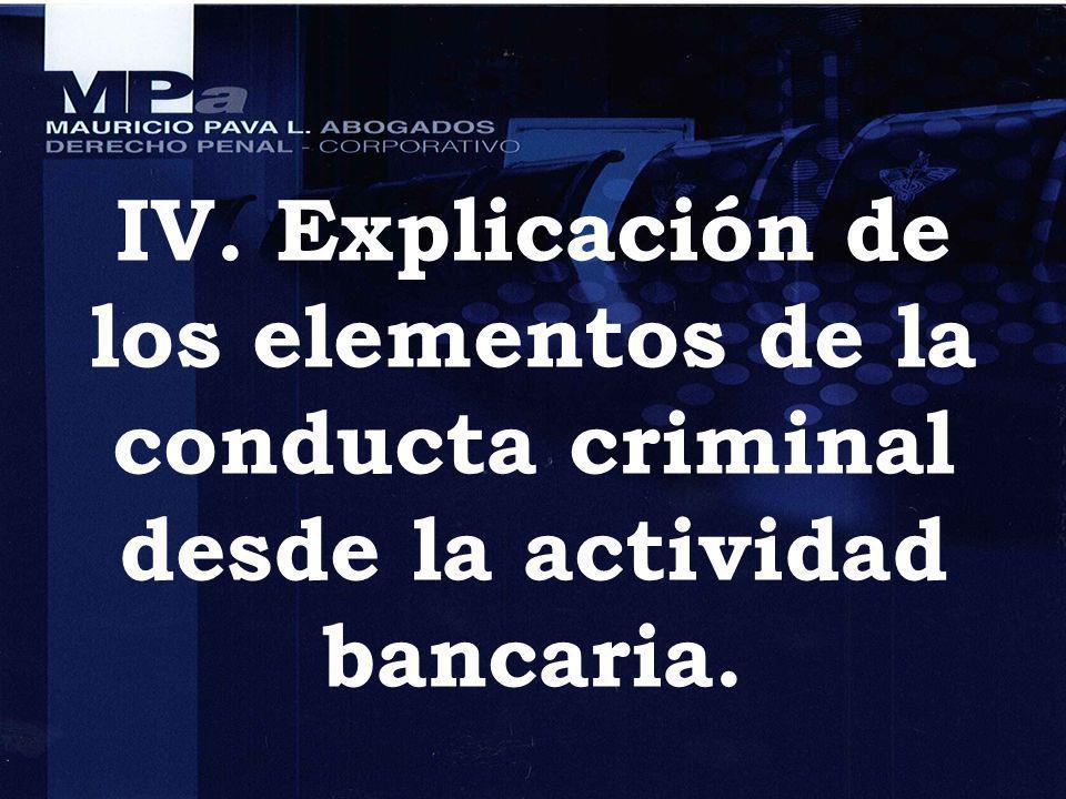 IV. Explicación de los elementos de la conducta criminal desde la actividad bancaria.