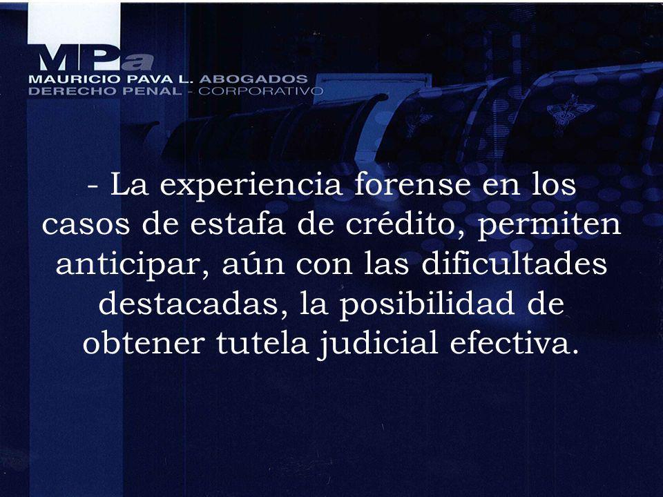 - La experiencia forense en los casos de estafa de crédito, permiten anticipar, aún con las dificultades destacadas, la posibilidad de obtener tutela judicial efectiva.