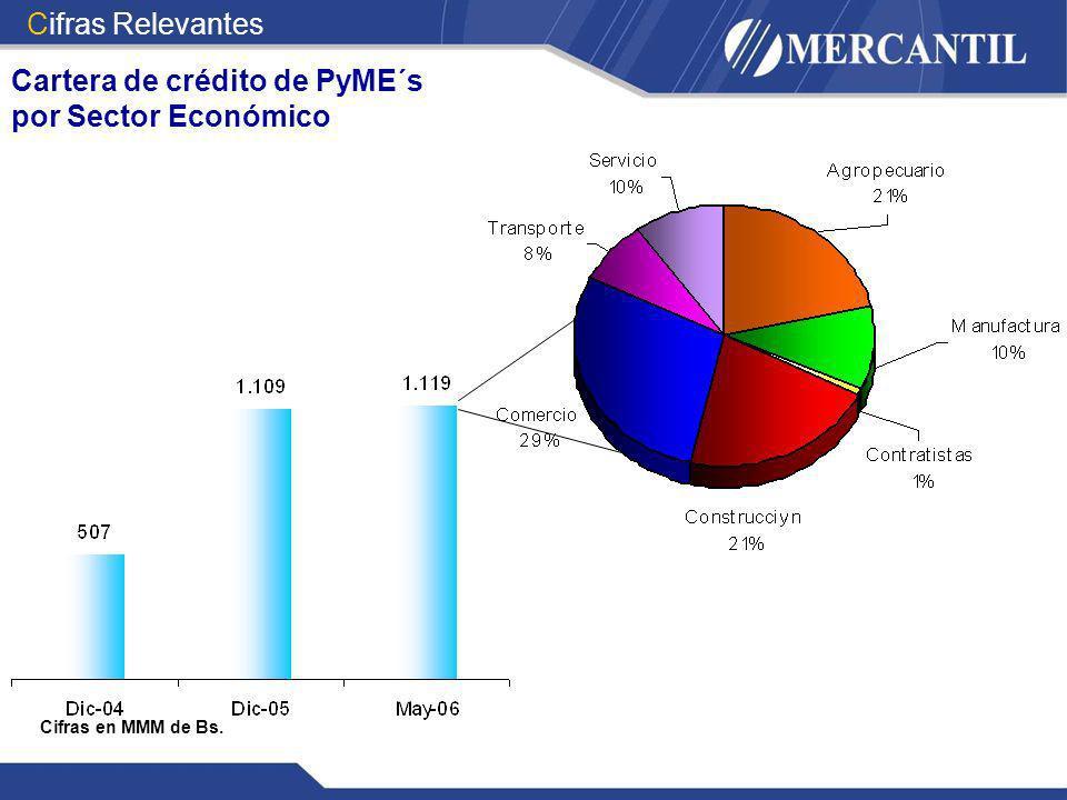 Cartera de crédito de PyME´s por Sector Económico
