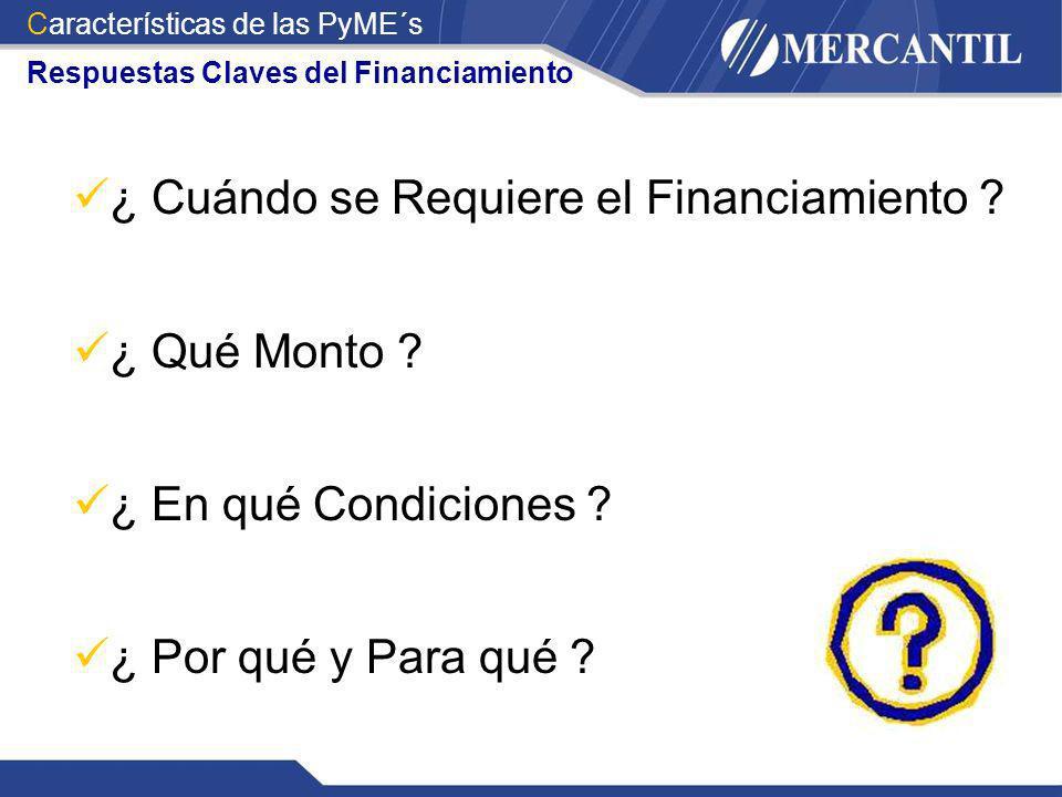 ¿ Cuándo se Requiere el Financiamiento