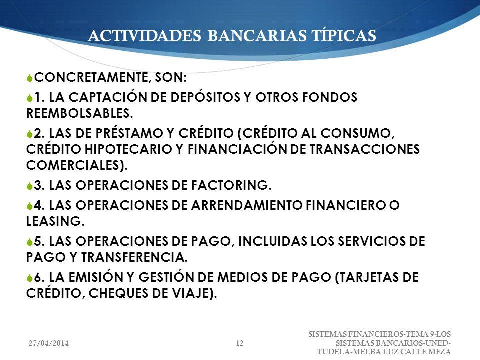 ACTIVIDADES BANCARIAS TÍPICAS