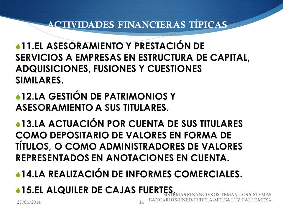 ACTIVIDADES FINANCIERAS TÍPICAS