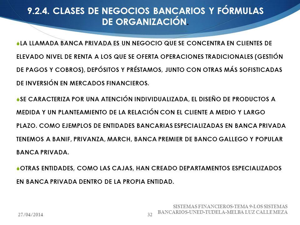 9.2.4. CLASES DE NEGOCIOS BANCARIOS Y FÓRMULAS DE ORGANIZACIÓN.