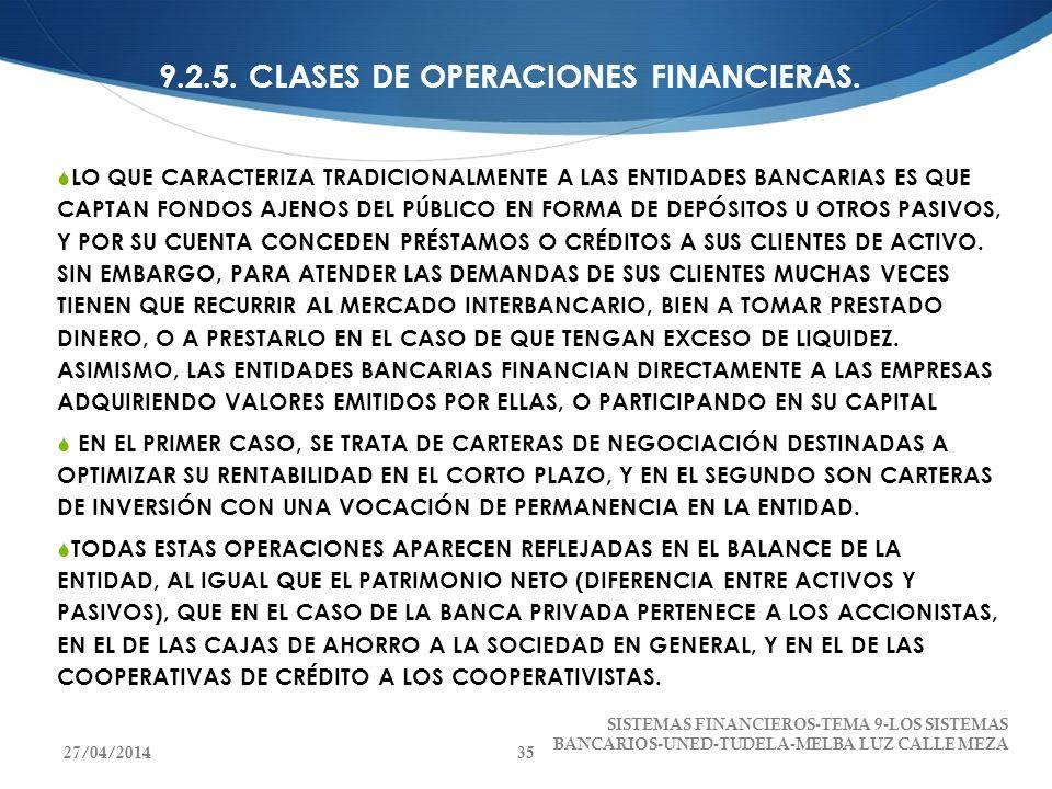 9.2.5. CLASES DE OPERACIONES FINANCIERAS.