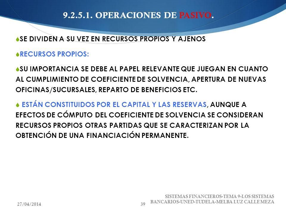 9.2.5.1. OPERACIONES DE PASIVO. SE DIVIDEN A SU VEZ EN RECURSOS PROPIOS Y AJENOS. RECURSOS PROPIOS: