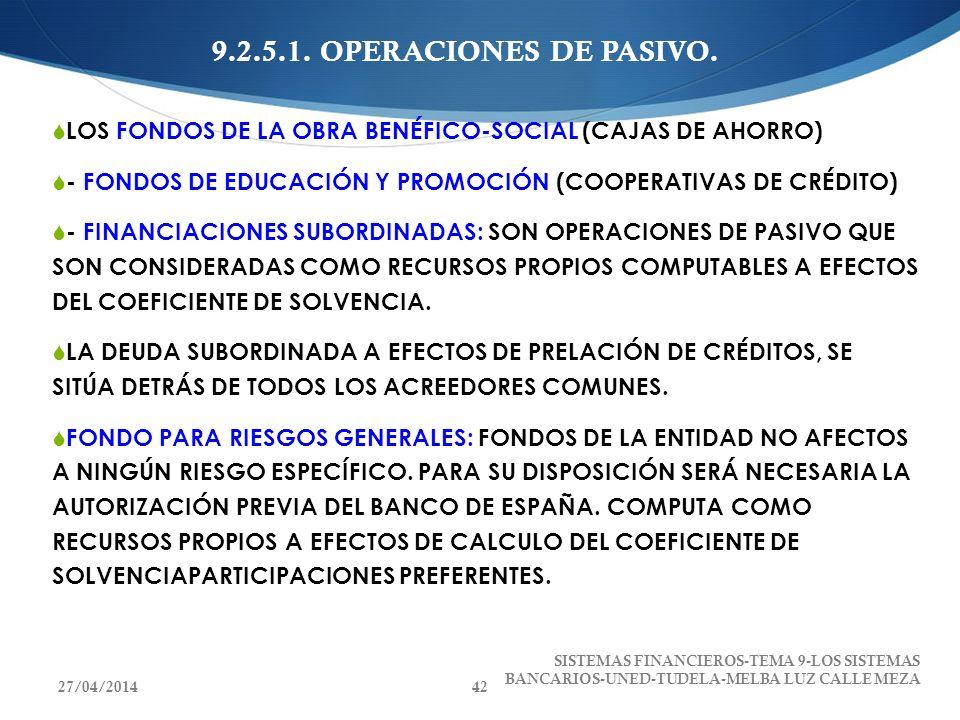 9.2.5.1. OPERACIONES DE PASIVO.LOS FONDOS DE LA OBRA BENÉFICO-SOCIAL (CAJAS DE AHORRO) - FONDOS DE EDUCACIÓN Y PROMOCIÓN (COOPERATIVAS DE CRÉDITO)