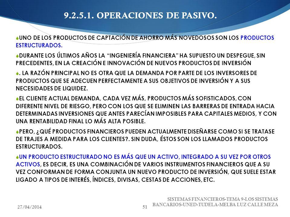 9.2.5.1. OPERACIONES DE PASIVO. UNO DE LOS PRODUCTOS DE CAPTACIÓN DE AHORRO MÁS NOVEDOSOS SON LOS PRODUCTOS ESTRUCTURADOS.
