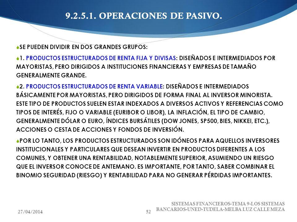 9.2.5.1. OPERACIONES DE PASIVO. SE PUEDEN DIVIDIR EN DOS GRANDES GRUPOS: