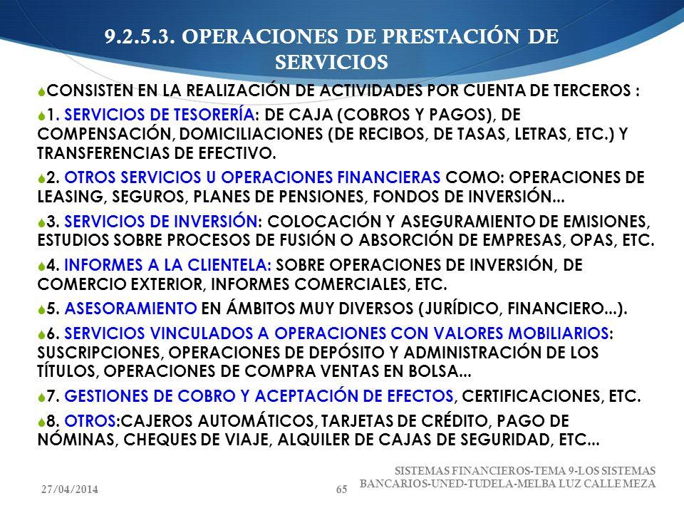 9.2.5.3. OPERACIONES DE PRESTACIÓN DE SERVICIOS