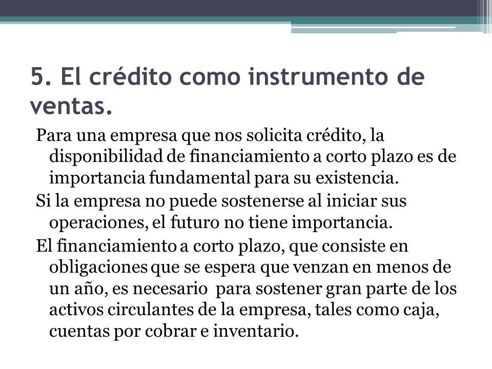 5. El crédito como instrumento de ventas.