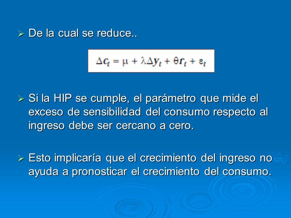 De la cual se reduce.. Si la HIP se cumple, el parámetro que mide el exceso de sensibilidad del consumo respecto al ingreso debe ser cercano a cero.