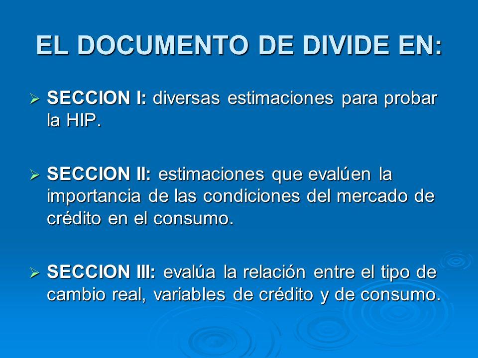 EL DOCUMENTO DE DIVIDE EN:
