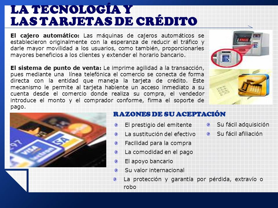 LA TECNOLOGÍA Y LAS TARJETAS DE CRÉDITO