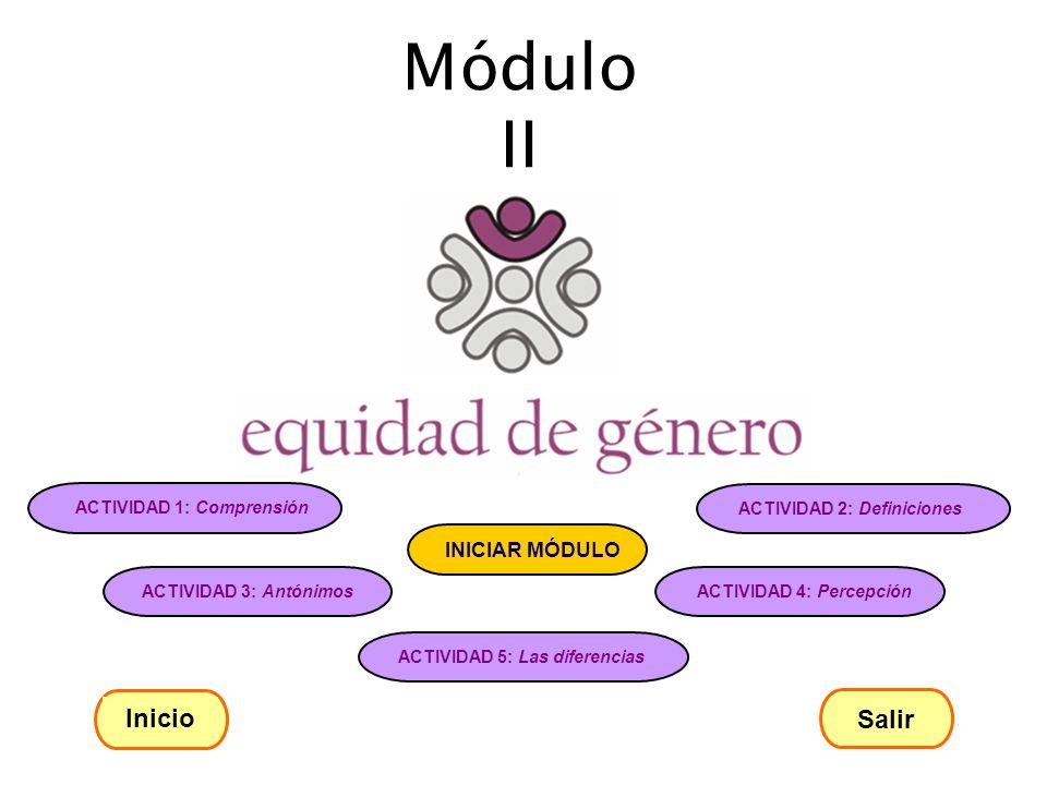 Módulo II Inicio Salir ACTIVIDAD 1: Comprensión