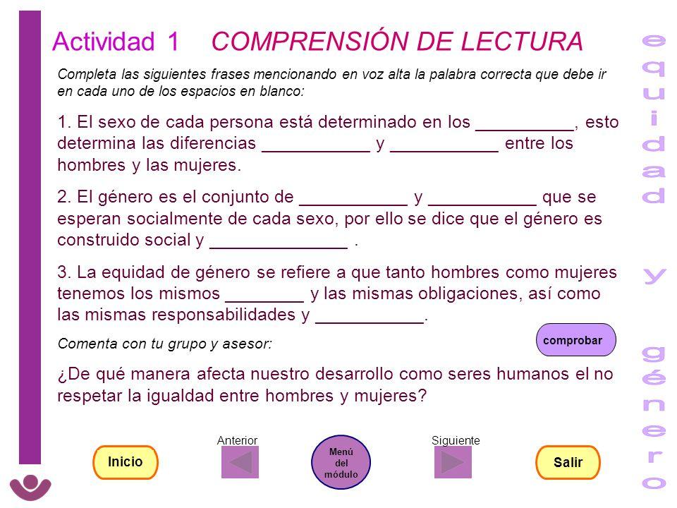 equidad y género Actividad 1 COMPRENSIÓN DE LECTURA