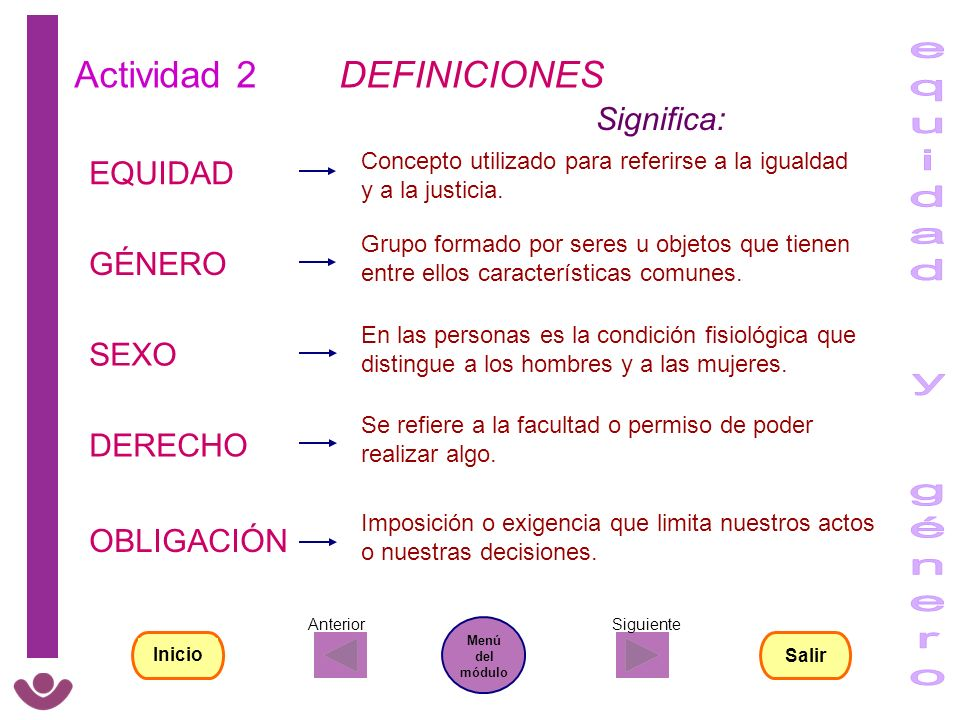 equidad y género Actividad 2 DEFINICIONES Significa: EQUIDAD GÉNERO