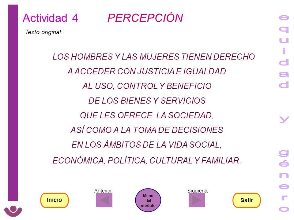 equidad y género Actividad 4 PERCEPCIÓN