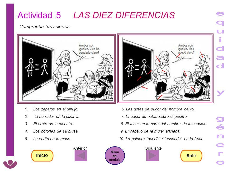 equidad y género Actividad 5 LAS DIEZ DIFERENCIAS