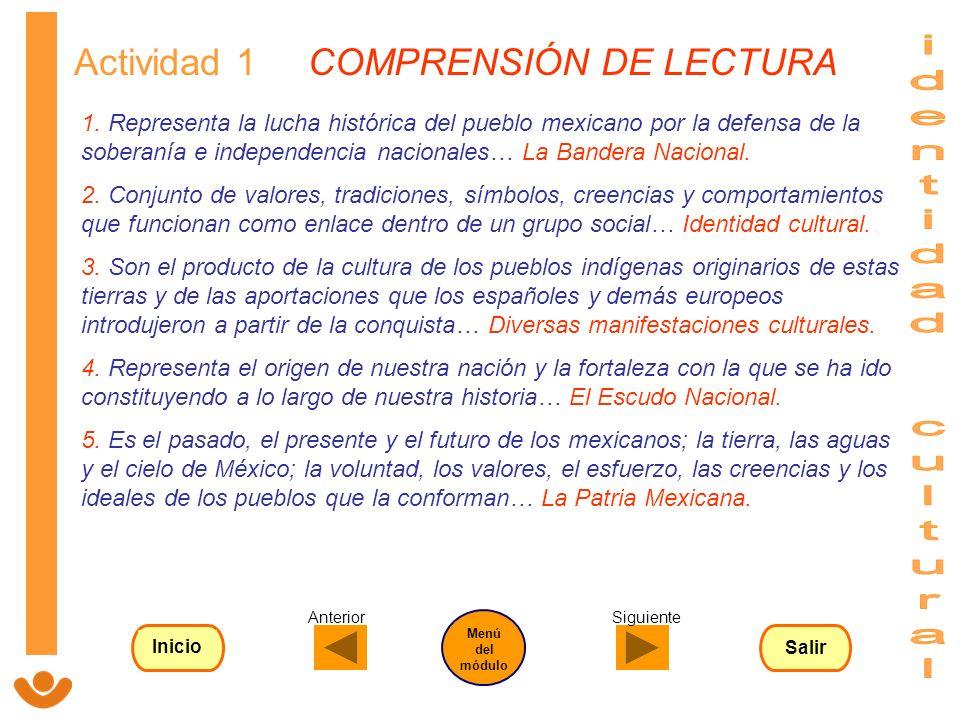 identidad cultural Actividad 1 COMPRENSIÓN DE LECTURA