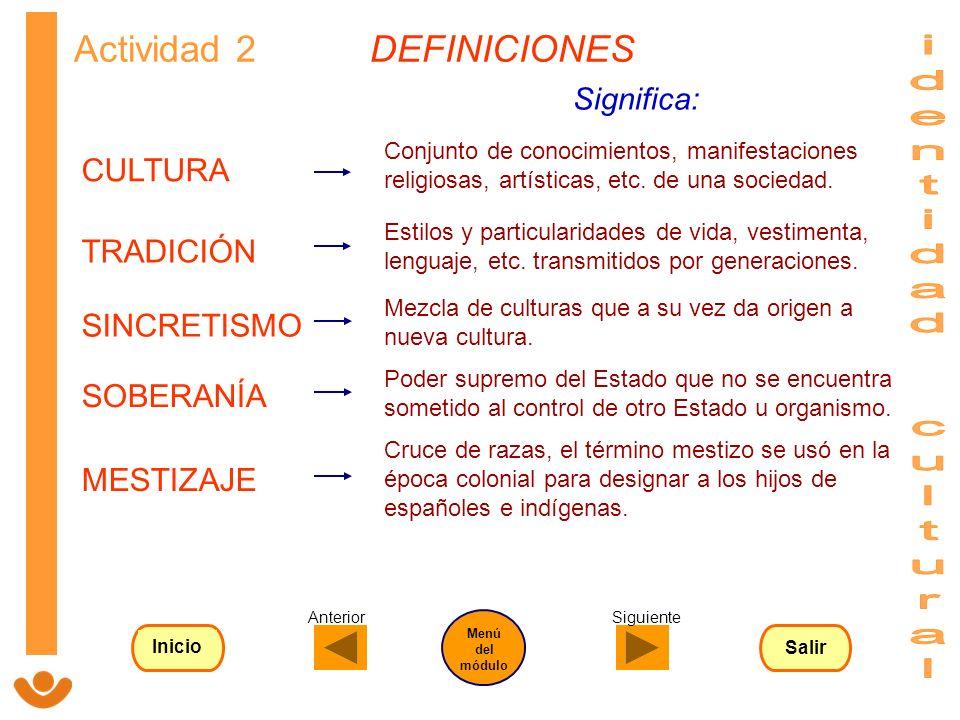 identidad cultural Actividad 2 DEFINICIONES CULTURA TRADICIÓN