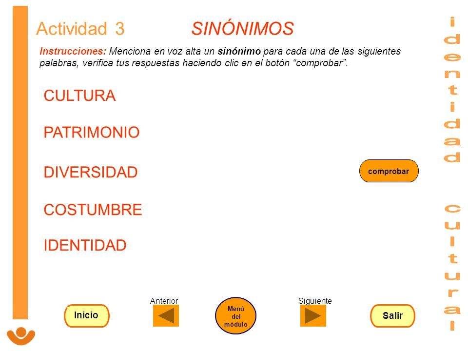 identidad cultural Actividad 3 SINÓNIMOS CULTURA PATRIMONIO DIVERSIDAD
