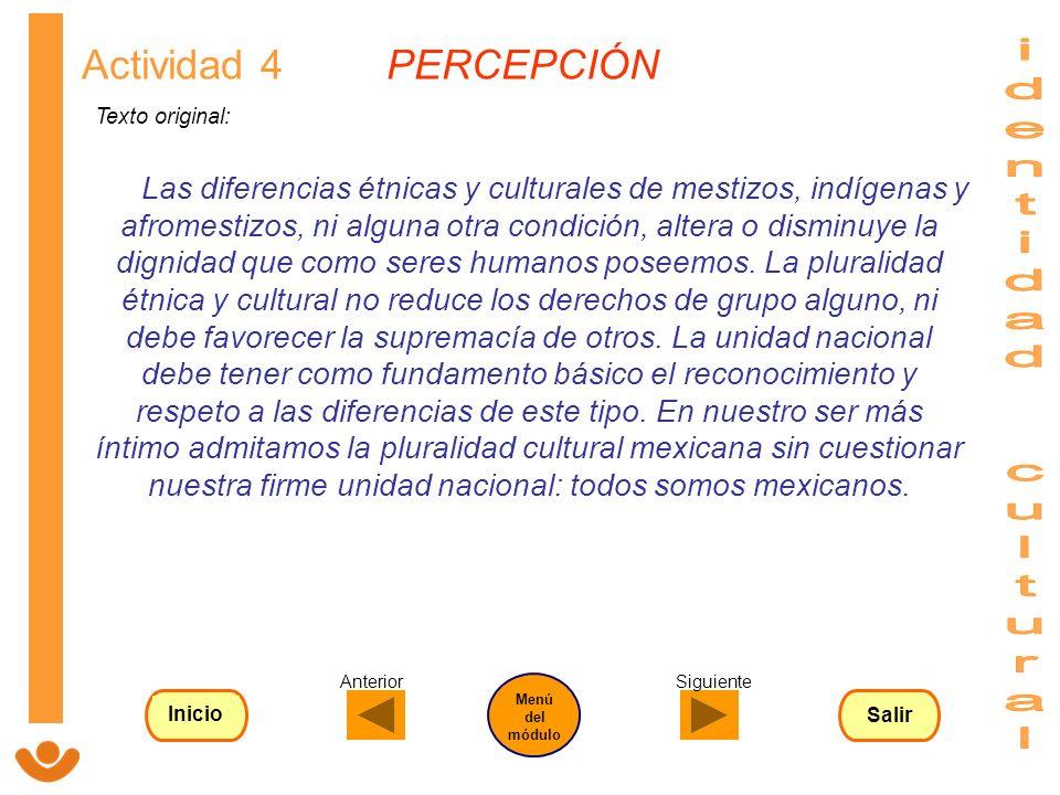 identidad cultural Actividad 4 PERCEPCIÓN