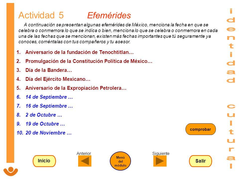 identidad cultural Actividad 5 Efemérides