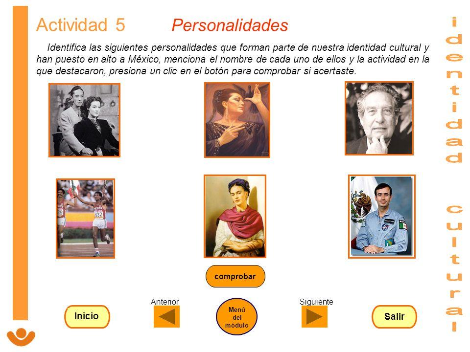 identidad cultural Actividad 5 Personalidades