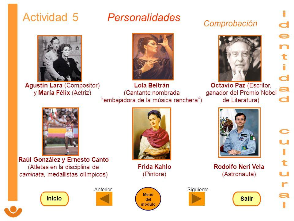 identidad cultural Actividad 5 Personalidades Comprobación